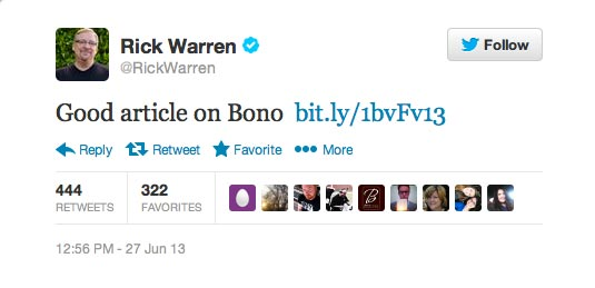 Rick Warren Tweets About Bono
