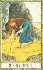"""A tarot card called """"The Wheel"""" features a witch's magic circle."""